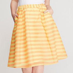 Lane Bryant 28 Skirt Orange Yellow Stripe Circle